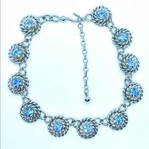 SOLD Silver Choker With Dazzling Blue Stones